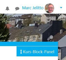 Rechts oben unter Nutzernamen ist neues Bedienelement sichtbar.